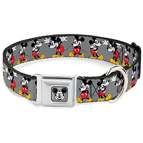 "Buckle Down Seatbelt Buckle Dog Collar - Mickey Mouse w/Glasses Poses Gray - 1"" Wide - Fits 9-15"" Neck - Small"