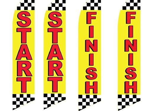 4 Swooper Flags Start Finish Auto Car Black White Checkered Checker Yellow (Finish Flags)