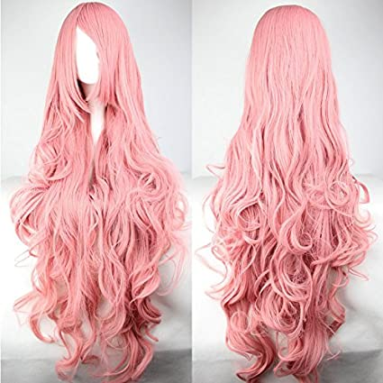 peluca, 80 cm, color rosa, pelo largo rizado de alta calidad, con