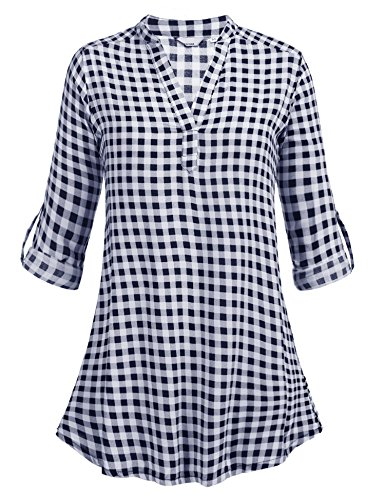 Zeagoo Women's V-neck Long Sleeve Loose Casual Plaids Tunic Shirt Blouses Top, Navy Blue/XL