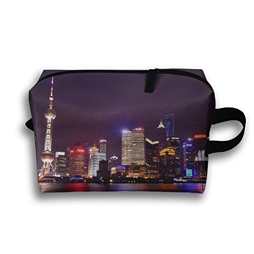 China Metropolis City Lights Reflection Small Travel Toiletry Bag Super Light Toiletry Organizer For Overnight Trip Bag