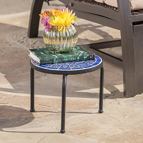 Soleil Outdoor Blue & White Ceramic Iron Frame Tile Side Table