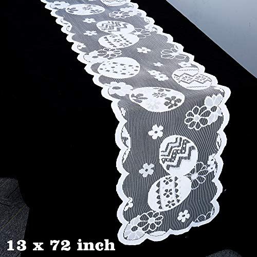 ibohr Easter Table Runner with Easter Eggs Pattern Lace Festival Table Runner Easter Decorations for Parties & Gatherings,100% Polyester, 13x72 Inch
