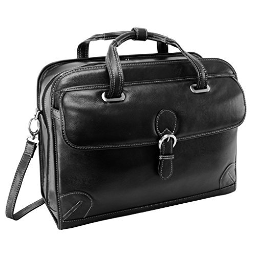 Siamod Carugetto Black Leather Detachable-Wheeled Laptop Case 45295
