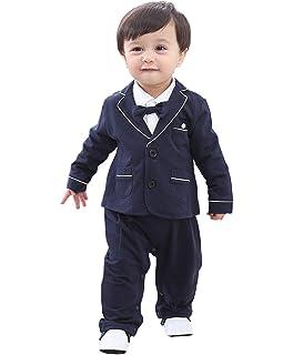 cool elves - Set de 2 Mono Ropa de Bautizo para Bebés de 3-18 Meses  Mameluco Largo con Chaqueta de Vestir con… e155889816cc