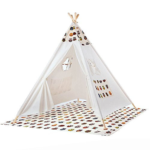 BATTOP Kids Teepee Tent Playhouse Cotton Canvas Two Window-Owl Style