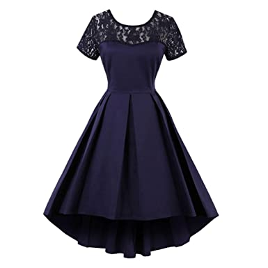Summer Dress For Women Plus Size Lace Vintage Dress Short Sleeves Floral Mesh Swing Dress Casual