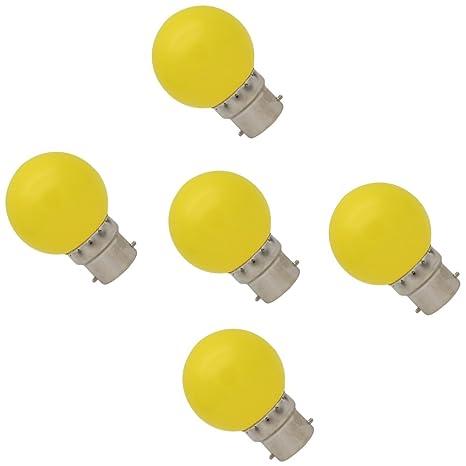 5X B22 Bombilla de Amarillo 1W Bombilla Color 100LM Lámpara LED Ahorro de Energía Colorido LED