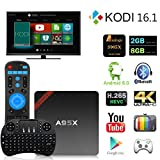 NEXBOX A95X Pro TV Box Android 6.0 Amlogic S905X Quad Core 2.0GHz KODI 16.1 Pre-installed 2GB /8GB VP9 H.265 HDR Media Player BT 4.0 Rooted with Learning Remote +Mini Wireless Keyboard