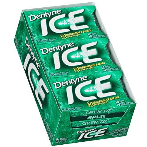 Dentyne Ice Spearmint Sugar Free Gum - 9 Packs of 16 Pieces!