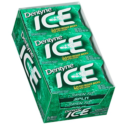 Dentyne Ice Spearmint Sugar Free Gum - 9 Packs of 16 Pieces! ()