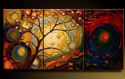 [Sanbay Art 100% Hand Painted Oil Paintings on Canvas Hot Sale Noble Tree Blossom Wood Framed Inside 3-pieces Set Artwork for Living Room Kitchen and Home Wall] (Costumes Gallery In Stock)