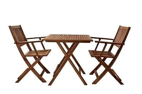 SAM® Robuste Salon de Jardin, 3 pièces, en Bois d\'Acacia, 1 x Table + 2 x  chaises Pliantes, huilé, Salon de Jardin, Jolies veinures, Bois Massif, ...