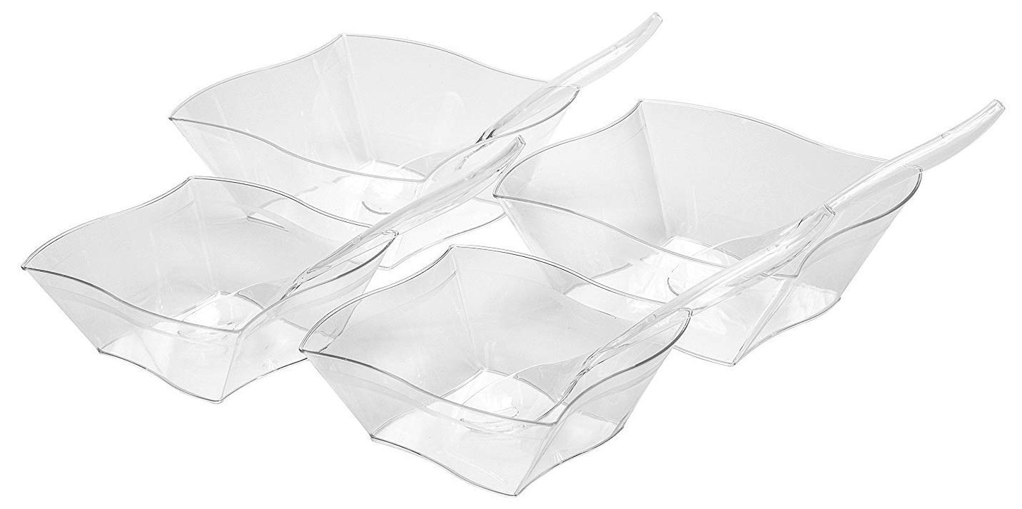 Set Of Four Square Wavy Plastic Clear Serving Bowls With Serving Spoons – Two Large (90 oz) and Two Medium (45 oz) Bowls – Perfect For Your Party or Event – and Durable Hard Plastic