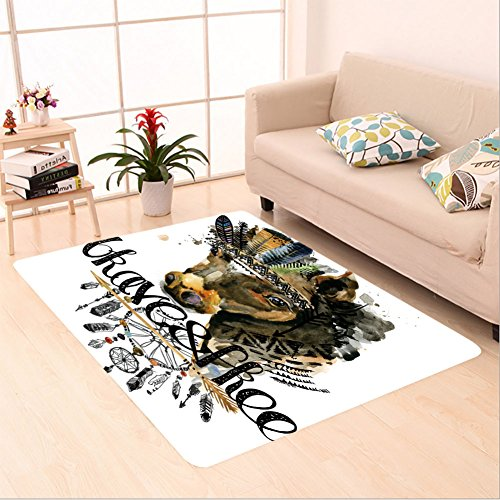 Sophiehome skid Slip rubber back antibacterial Area Rug horse american indian chief headdress war bonnet dream catcher background native american 597755774 Home Decorative - Shaw Rugs Indian Rug