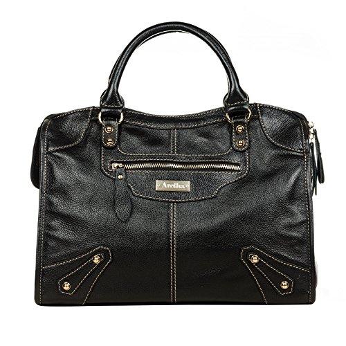 Classic Mini Satchel (aretha Paris Vintage Women Designer Classic Genuine Cow Leather Large Work Tote, Shoulder Satchel Bags, Cross Body Handbags Black)