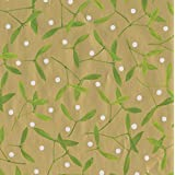 Caspari Entertaining with Continuous Roll of Gift Wrapping Paper, Mistletoe Gold, 8', 1-Roll
