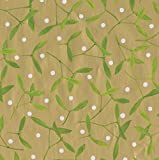 Entertaining with Caspari Continuous Roll of Gift Wrapping Paper, Mistletoe Gold, 8-Feet, 1-Roll