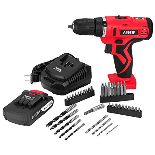Anesty 20-Volt MAX Lithium-Ion Cordless Drill/Driver with 38 Piece Drill and Screwdriver Bit Accessory - 20 Piece Cordless Drill