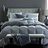 Globon Fusion White Goose Down Comforter King 55oz, 600 Fill Power, 300 Thread Count, Down Proof Shell, Hypoallergenic, With Corner Tabs, All Season, Grey