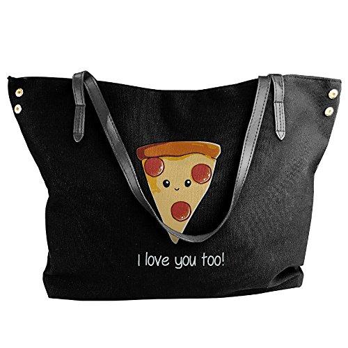 Canvas Pizza Handbag Black Large Tote Hobo Bag I Tote Women's Love Shoulder Messenger qTZwf66