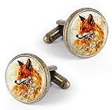 Kooer Handmade Vintage Bronze Fox Cufflinks Custom Personalized Wedding Animals Cuff Links Tie Clip Set (Vintage fox)