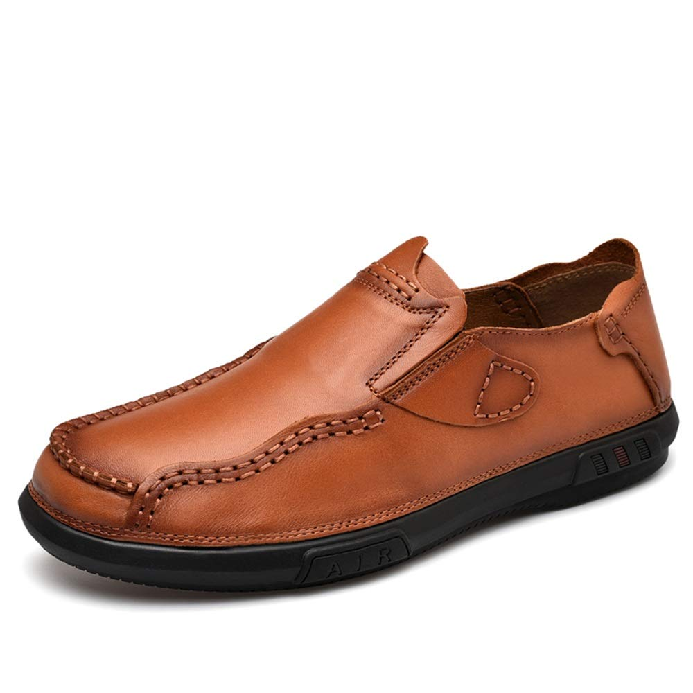 XW_H Men Loafers Shoes Leather Hiking Slip On Flats Shoes丨Penny Loafers 丨Men Casual Shoes 丨Canvas Shoes for Men 丨Driving Shoes丨Mens Boat Shoes (Color : Brown, Size : 6.5 M US)