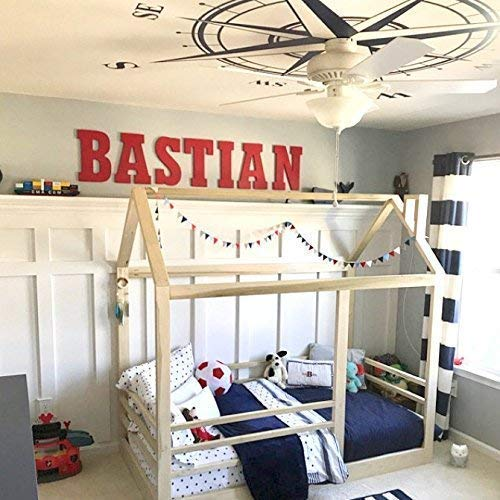 (House Bed Frame Twin Size + Railings PREMIUM WOOD)