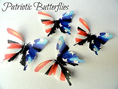 24 Patriotic American Flag Decorative Wafer Paper Butterflies© Red White & Blue Color 4th of July Fourth Independence Day Labor Day Memorial Day