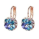 Multicolored Swarovski Crystal Earrings for Women Girls 14K Gold Plated Leverback Dangle Hoop Earrings