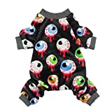 Fitwarm Halloween Eyeballs Pet Clothes for Dog Pajamas PJS Cat Jumpsuit Apparel Black Small