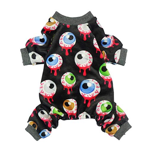 Fitwarm Halloween Eyeballs Pet Clothes for Dog Pajamas PJS Cat Jumpsuit Apparel Black -