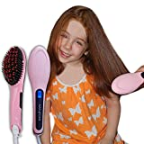 Professional Ceramic Hair Straightener Brush by NAD&DAN with Lock Buttons Option. Fast Detangling Electric Comb, Digital Display, Massage Straightening Anti Static Anti Scald. (Pink) Free Bonus