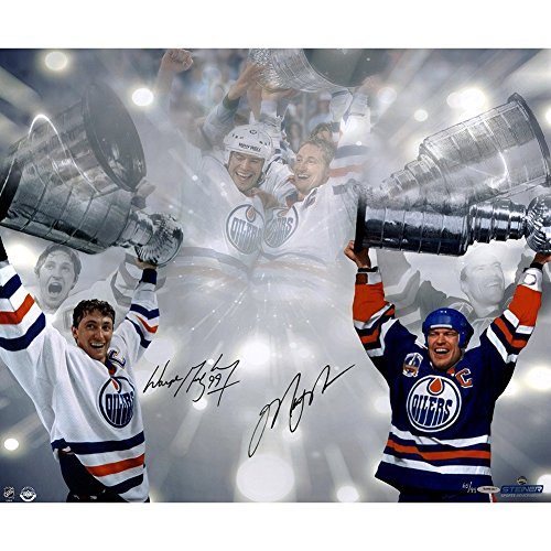 Wayne Gretzky/Mark Messier Dual Autographed Signed Edmonton Oilers Stanley Cup 16x24 Photo UDA/SSM UDA LE/99 - Authentic Signature