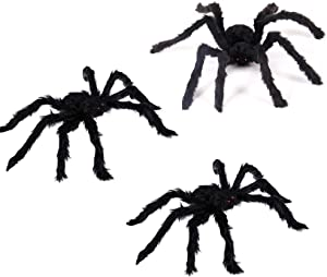Halloween Decorations Outdoor Scary Giant Spider Posable Furry Black Spider Props for Halloween Joking Decor Party Favor, 3 Pack 20 Inches