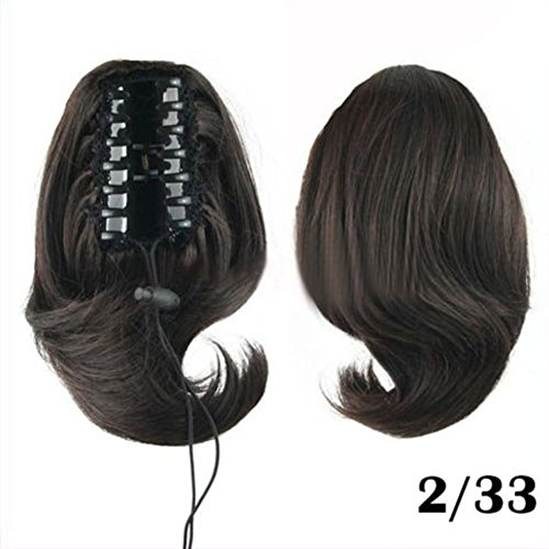 DAYISS Womens Short Wavy Black/Brown Clip On Hair Piece
