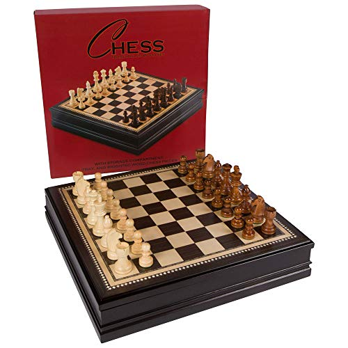 Kavi Black Inlaid Wood Chess Board Game with Weighted Wooden Pieces and Tray - 18 Inch Set (Large) ()