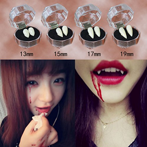 Errollina 4Pcs Vampire Tooth Halloween Party Unisex Cosplay Prop Werewolves Devil Horror False Dentures Fangs Teeth Toy 13mm 15mm 17mm and (Best Tasteless Halloween Costumes)