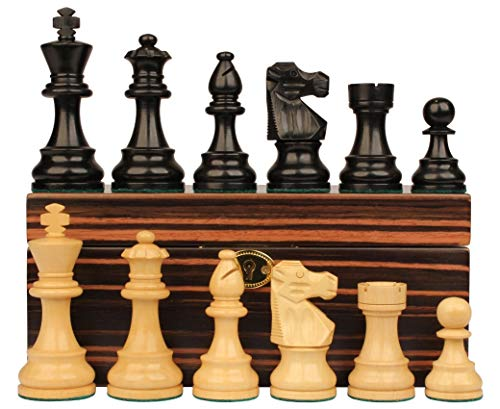 - French Lardy Staunton Chess Set Ebonized & Boxwood Pieces with Macassar Ebony Chess Box - 3.75