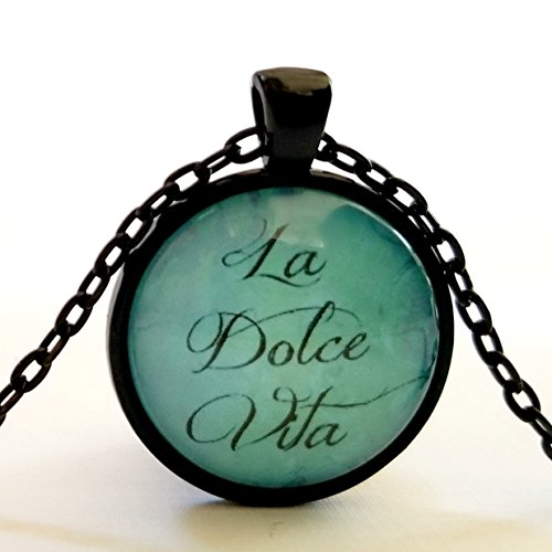 Dolce Glass Pendant (La Dolce Vita Necklace | Glass Pendant | The Sweet Life | Italian Life Quote)