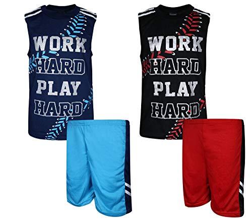 Quad Seven Boys\' 4-Piece Summer Pajama Short Set, Work Hard/Play Hard, Size 12/14'