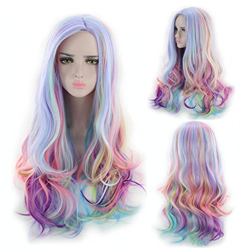 (27.56'' Long Multicolor Big Wavy Ombre Spring Bouquet Cosplay Wig For Women Harajuku Style Lolita Spiral Colorful Fiber Synthetic Halloween Wig (blue/pink/purple))