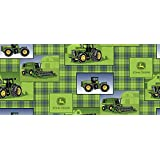 """John Deere Plaid Patch Allover with John Deere Logo on a Green Plaid Background on 100% Cotton Fabric (Great for Quilting, Sewing, Craft Projects & More) 1/2 yard x 44"""""""