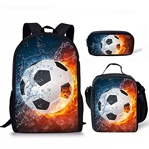 Soccer Backpack Campus Book Bags for Girls Boys Lunch Bags Pencil Bag 3pcs CHAQLIN by CHAQLIN