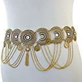 Idealway Vintage Silver/Bronze Waist Chian Hollow out Carving Rhinestone Crystal Body Chain Summer Beach Body Waist Chain Jewelry (Brown)