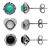 3-Pair Petite Mother Of Pearl, Created Turquoise & Created Onyx 925 Sterling Silver Stud Earrings Set