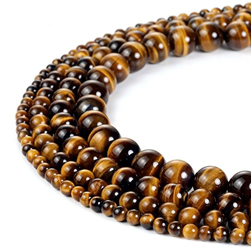 8mm Round Brown Tiger Eye Beads Semi Precious Gemstone Beads for Jewelry Making Strand 15 Inch (47-50pcs)