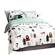BuLuTu Siberia Forest Theme Cotton US Twin Kids Bedding Collections Darker White(1 Duvet Cover 2 Pillowcases) Boy Duvet Cover Set with Ties Wholesale,Love Gifts for Him,Teen,Child,Friend,NO Comforter