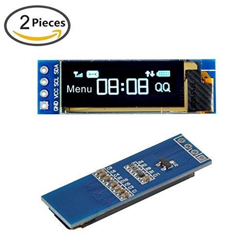 (MakerFocus 2pcs I2C OLED Display Module 0.91 Inch I2C SSD1306 OLED Display Module Blue I2C OLED Screen Driver DC 3.3V~5V for Arduino)