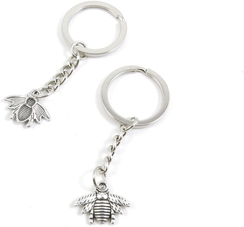 10 Pieces Keychain Door Car Key Chain Tags Keyring Ring Chain Keychain Supplies Antique Silver Tone Wholesale Bulk Lots S2TR1 Bee